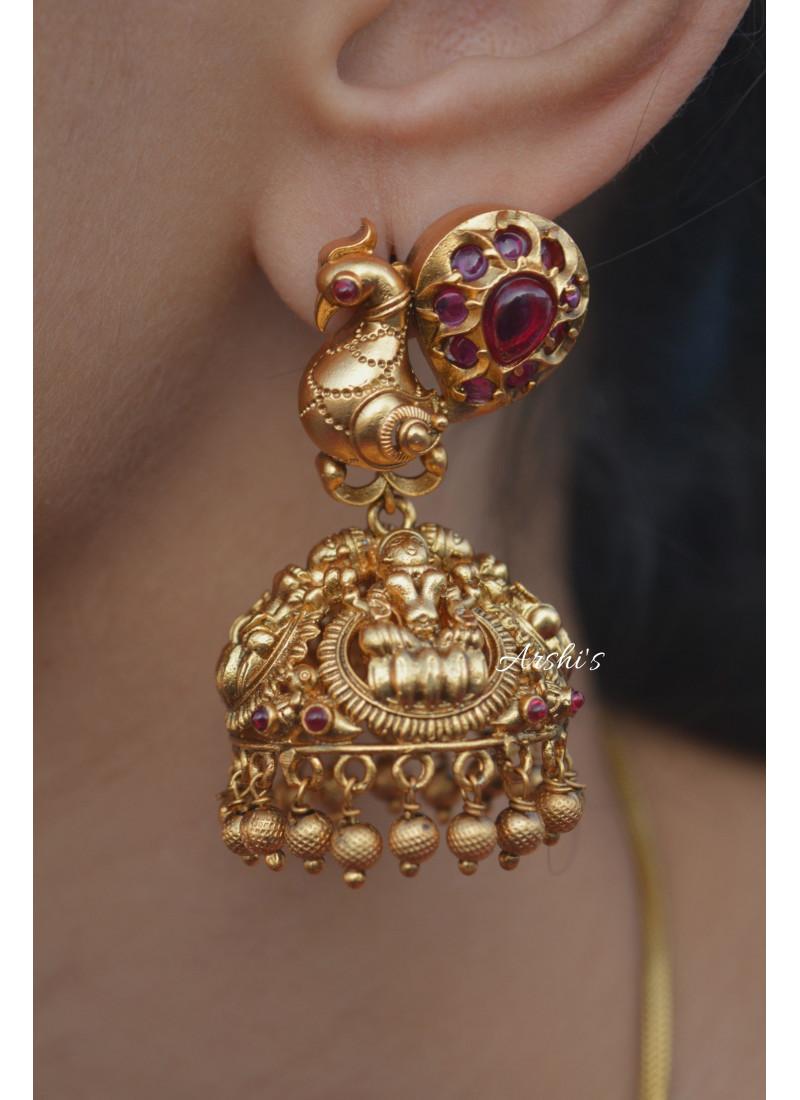 Gold Bead Red Stone Peacock Jhumka
