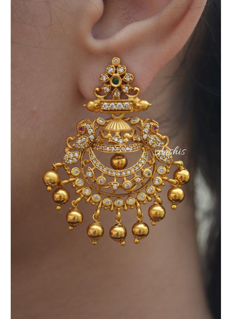 Gold Drop AD Chandbali Earrings