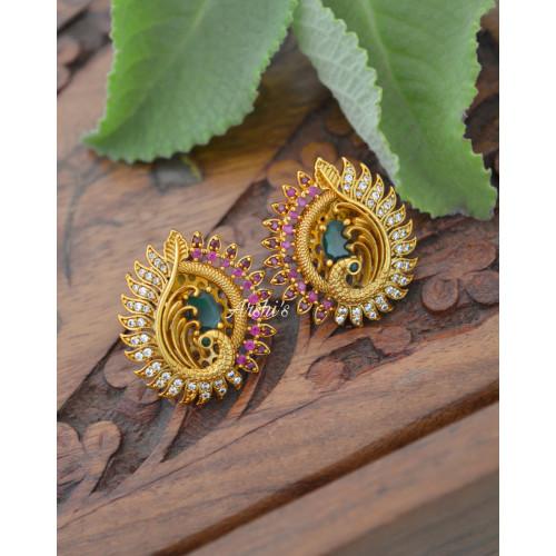 Beautiful Peacock AD Stone Ear Studs
