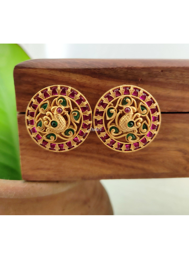 Kemp Red and Green Peacock Ear Studs
