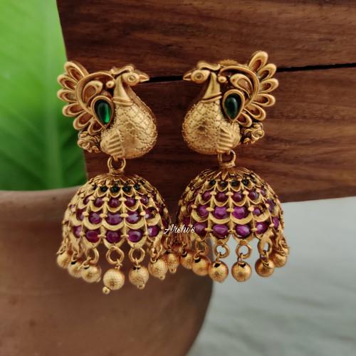 Elegant Peacock Kemp Jhumka