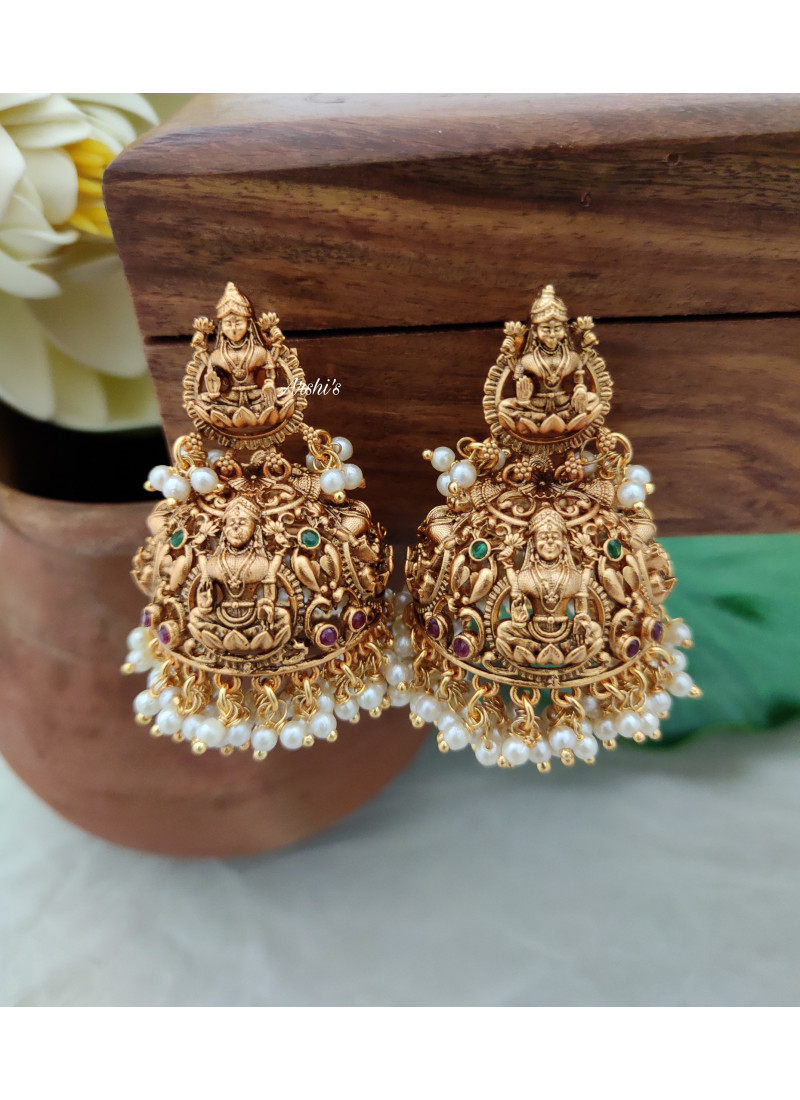 Grand Bridal Temple Lakshmi Jhumkas