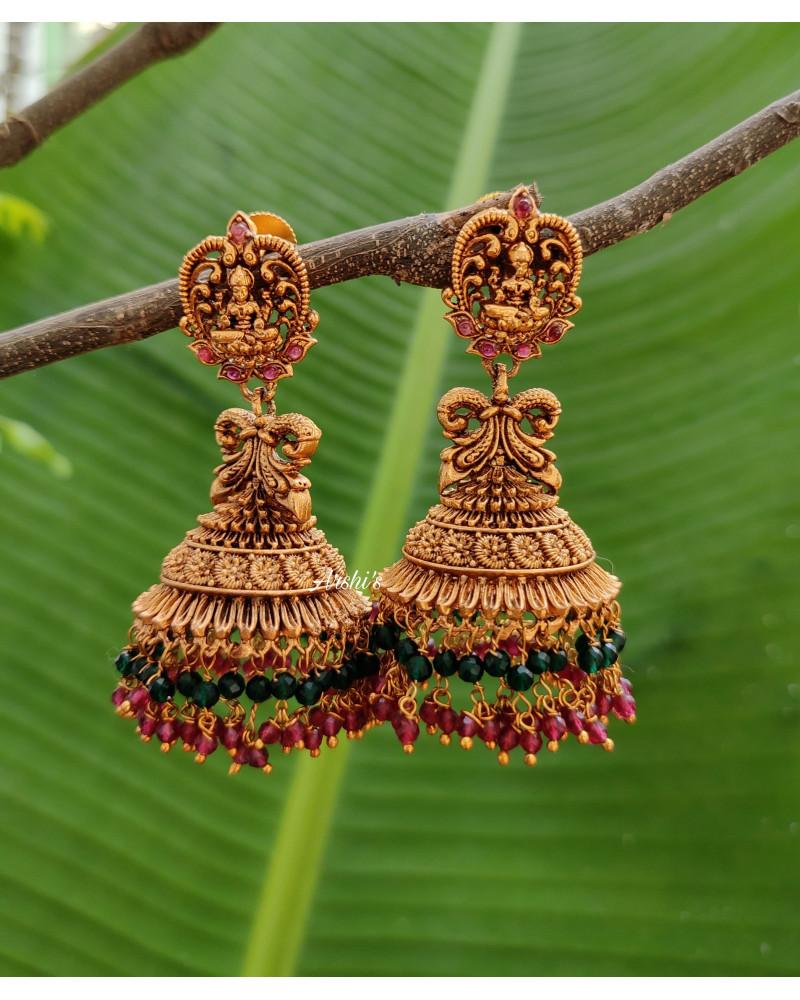 Imitation Crystal Bead Lakshmi Jhumka