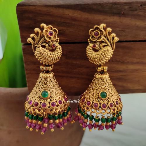 Imitation Peacock Designer Jhumkas