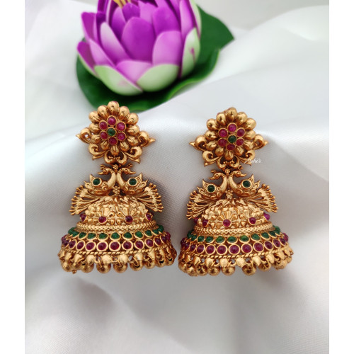 Temple Peacock Jhumka With Red & Green Stones