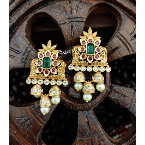 Simple Matte Temple Pearl Earrings