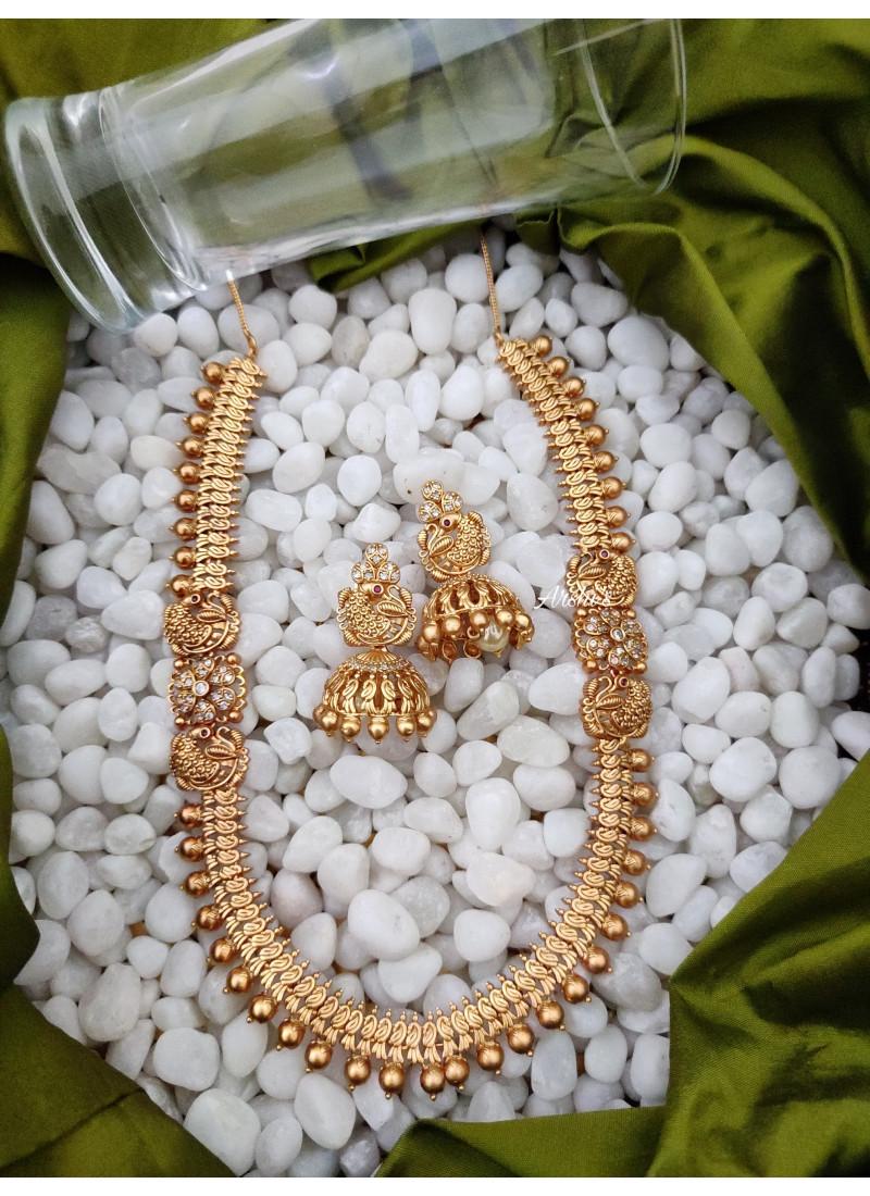 Antique Peacock Mugappu Necklace