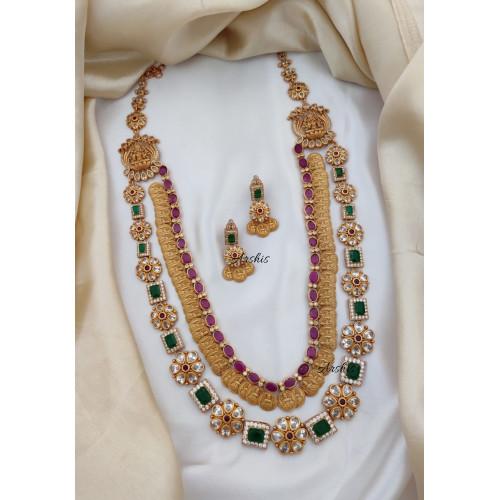 AD Stone Matte Bridal Temple Jewellery Haram