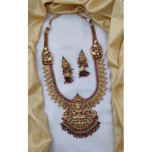Grand Bridal Peacock Lakshmi Long Haram