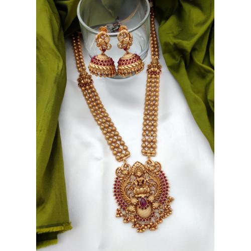 Bridal Matte Finish Lakshmi Pendant Haram