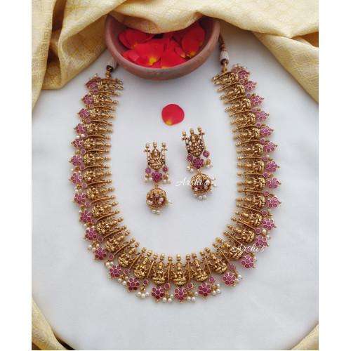 Flower Design Ruby Temple Lakshmi Haram