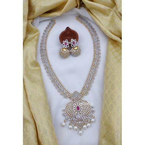 Diamond alike Flower AD Stone Bridal Haram