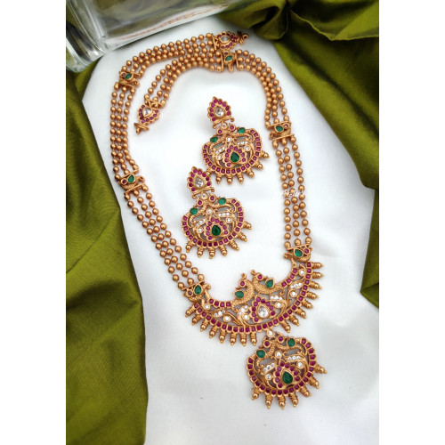 Antique Long Necklace With Ruby & Green Stones