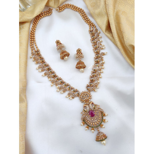 AD Stone Long Necklace Set With Jhumka