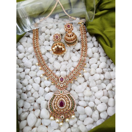 Bridal AD Stone Necklace With Jhumkas